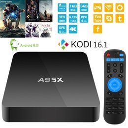 Wholesale Best selling Amlogic S905 A95X Android TV Box G G Quad core Android G Wifi Media Player KODI