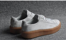 Wholesale 2016 Suede Creeper Black Star White Black Women Men Casual Shoes Fashion Ladies Rihanna shoes sneakers women men