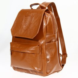 Fashion Oil Leather Backpack Women School Bags for Teenagers PU Leather Backpack 4 Colors Travel Bag Pouch  Feminina