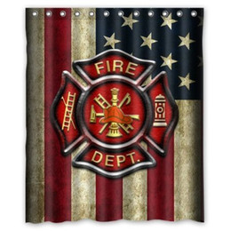 Wholesale Custom Creative Home Ideas Firefighter Rescue Symbol Bathroom Waterproof Polyester Fabric x180cm Shower Curtain