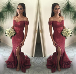 2016 Best Selling Burgundy Sequins Mermaid Shining Sequins Off-Shoulder Floor Length Long Elegant Evening Prom Dress Gowns Exquisite Chic