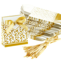 Wholesale Gold Wedding Favour Favor Sweet Cake Gift Candy Boxes Bags Anniversary Party