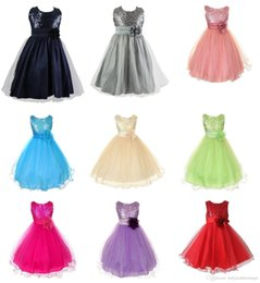Wholesale Solid Light Blue Ball Gown - 2016 New Lovely Colorful Cheap Party Dresses Girls Polyester Sequins Dresses With Flower Children Clothing Princess Fashion Dresses MC0001