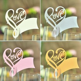 100pcs Table Mark Wine Glass Laser Cut Love Heart Name Place Cards for Wedding Party Decoration Products Supplies