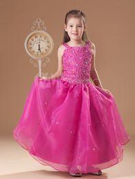 2016 New Spring Sweet Fuchsia Tulle Floor Length Spaghetti Multicolours Crystal Little Girl's Pageant Dresses Wedding Kids Brithday Dresses