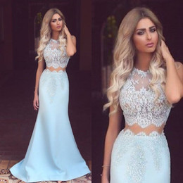 Gorgeous Two Pieces Prom Dresses Jewel Sheer Mermaid Satin Lace Sleeveless Vestidos Evening Gowns Celebrity Dress Said Mhamad Dresses