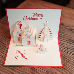 Wholesale Merry christmas card artificial christmas tree house snowman christmas decorations christmas party supply christmas gift cards