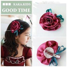 2016 new fashion kids baby girl solid hair clip ribbon bow flower barrettes children hair accessory hairpin hairgrip headwear