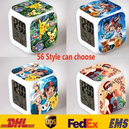 Wholesale 56 Style Creation Poke D Led Alarm Clock Cartoon Action Color Digital Daily Desk Table Clocks For Third Side SZ A07