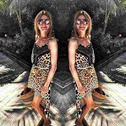 2016 new fashion summer women casual leorped print dresses v-neck spaghetti strap dress loose dresses plus size freeshipping