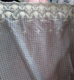 Wholesale Reactive dyed cotton Bilateral embroidery jacquard fabric classical check weaved beige background pattern cm wide sold by yard