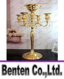 Promotion pendentifs en argent H75cm * W48cm Or / Argent 5 têtes Candélabres en cristal Bougeoir de mariage Centerpiece Flower Bowl Bougeoir avec des pendentifs LLFA8881