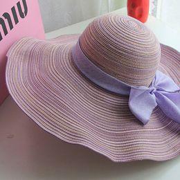 Wholesale Summer Korean Style Ladies Sunshade Cap Hat Cotton Bow Folding Straw Hat Oriental Tourism Cap Ladies Fashion Beach Hat