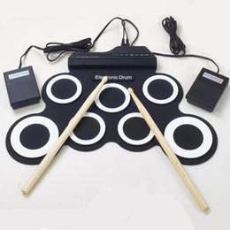 Promotion batterie électronique pad ensemble Vente en gros-Professional 7 Pad numérique USB MIDI Portable portable Silicone musical batterie réglable avec Stick Roll-up de haute qualité