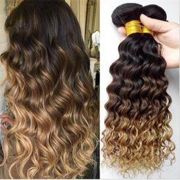 Promotion 27 bouclés ombre 1B / 4/27 Honey Blonde Bundles cheveux Ombre brésilienne profonde Curly humaine 3Pcs Vierge brésilienne Trois Tone Ombre Cheveux Weave profonde Curly