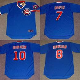 Wholesale cheap JODY DAVIS ANDRE DAWSON LEON DURHAM Chicago Cubs Throwback Baseball Jersey BLUE stitched