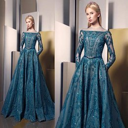Wholesale 2017 Ziad Nakad Evening Dresses A line Bateau Appliques Beaded Bodice Illusion Long Sleeves Floor Length with Belt Prom Gowns