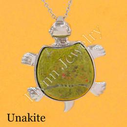 2016 Unakite Opal Moonstone Various Natural Stone Mascot Tortoise Turtle Reiki Pendant Charms Health Amulet Jewelry 10pcs