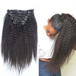 2017 natural hair wholesale india Clip en las extensiones rectas rizadas del pelo humano para las mujeres negras 8pcs / set 120g venden al por mayor 5 el pelo brasileño 8-24inch DHL de la Virgen determinada que envía libremente barato natural hair wholesale india