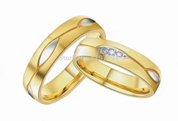 Bague de fiançailles en titane or à vendre-2015 or gros de rings18k couples d'engagement de bijoux en acier de titane de mode plaqué vintage ensembles anneaux de mariage