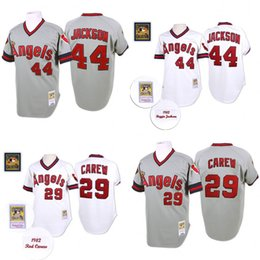 Wholesale Grey Throwback Rod Carew Reggie Jackson Authentic Jersey Men s Mitchell And Ness Los Angeles Angels Of Anaheim