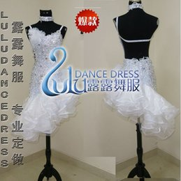 Custom Latin Dance Dress Rhinestones Clothing For Dance Stage Costumes ChaCha Dancing Dress For Women White Dancewear Competition Dress