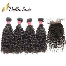 5pcs lot Brazilian Curly Hair 4 bundles with Closure Natural Color Human Hair Weave Black Kinky Curly Hair Extensions BellaHair