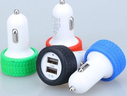 Universal 5V 2.1A double USB Tire Car charger Tyre Double dot adapter Travel chargers for iphone 6 6s plus Samsung Galaxy S7 S6