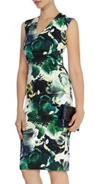 Flower Print Women Sheath Dress V-Neck Sleeveless Casual Dresses 054A563