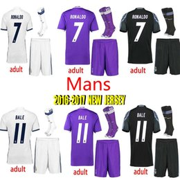 Wholesale Real Madrid kits ball jerseys uniform home away men sets Maillot de foot Ronaldo james bale benzema kroos modric football shirts