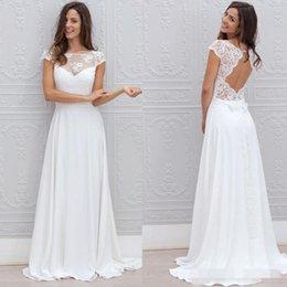 Wholesale Lace Wedding Dress Princess Cut - Romantic 2016 Beach Summer Lace Wedding Dresses Sheer Scoop Neck Cap Sleeves Cut Out Backless Chiffon Wedding Dress A-Line Long Bridal Gowns