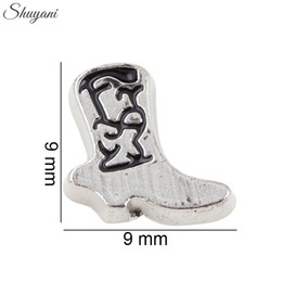Wholesale Jewelry Antique Silver Charms Cowboy Boot Floating Locket Charms for DIY Bracelet Living Glass Memory Locket Necklaces