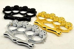 Wholesale 2016 BEST GIFT new Big head ghost THICK CHROMED STEEL BRASS KNUCKLES KNUCKLE DUSTER Powerful damage safety equipment self defense