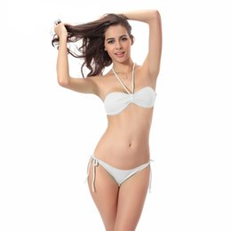 Wholesale Simple style Bandeau Bikinis Set High Waist Solid Sling Swimsuit halter Sexy Brasileiro Biquini bottom Boxers