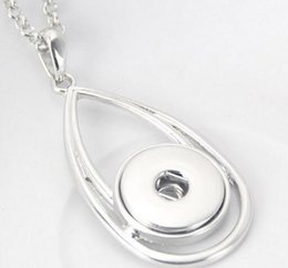 Wholesale antique silver noosa chunks water Drop with chain Pendant Necklace Fashion snap button necklace noosa button giner button necklace fit mm