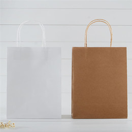 Wholesale White Paper Gift Bag Wedding Party Birthday White kraft Paper Bag Small Adorn Article Gift bags Gift Boxes Hand Bag General Paper Bag