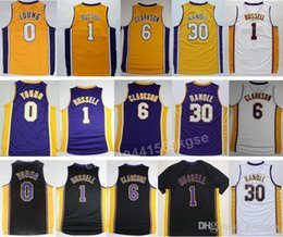 Wholesale Newest Jordan Clarkson Jersey Shirt D Angelo D Angelo Russell Nick Young Uniforms Purple Yellow White Julius Randle