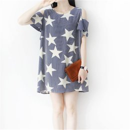 Wholesale Summer Pregnant Clothing Maternity Dresses Casual One Piece Basic Shirt Clothes For Pregnant Women Stars printed Loose Nursing