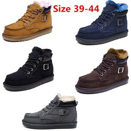 Wholesale Brand New IVG Men Woman Snow Boots Men winter warm shoes Ankle Boots Australian fur boots Brown British style casual Shoes
