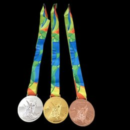 Wholesale 10 The Rio Olympic games Championship replica gold medal badge collectible art coin badge with belt