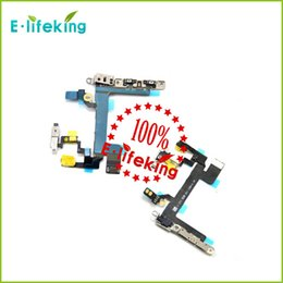 Wholesale Power Button Switch Flex Cable With Metal Button Smart Phone Replacement Part For iPhone S fast shipping