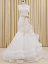 Organza Mermaid Sweetheart Wedding Dress With Ruffles 2016 Sweep Train Wedding Gowns Lace Up Vestidos De Noiva