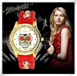 Wholesale Silicone Gold Chain Band Quartz Watches Leisure Joker Owl Ladies Watch High Quanlity Geneva Wrist Wathc for Women F040