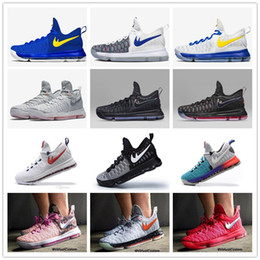 Wholesale 2016 Air Zoom KD Mens Basketball Shoes KD9 Oreo Grey Wolf Kevin Durant s Men s Training Sports Sneakers Warriors Home US Size