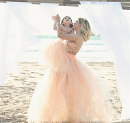 Wholesale Cheap Petite Clothing - 2016 Tutu Skirt Mother Daughter Dresses Coral Summer Beach Cheap Prom Dresses Fluffy Short Family Clothing Free Shipping