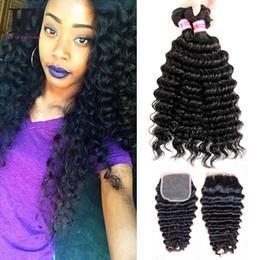 Brazilian Deep Wave with Closure 4 Bundles With Closure Brazilian Deep Wave Curly Virgin Hair With Closure Human hair Weave