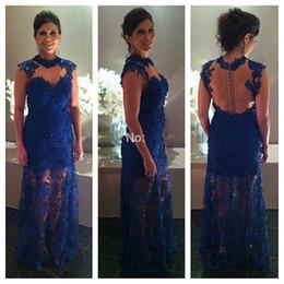 Wholesale Amazing Long Prom Dresses Royal Blue Lace Vestidos De Formatura Vestido De Festa Lace Appliques Formal Backless Evening Party Gowns