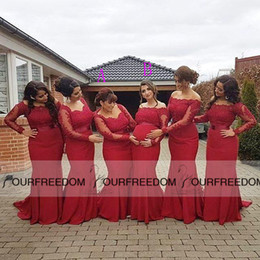 African Style Red Bridesmaid Dresses Plus Size Maternity Off Shoulder Long Sleeves Lace Backless Pregnant Formal Dresses Saudi Arabic