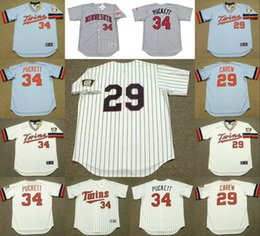 Wholesale Men s Cooperstown Minnesota Twins blank KIRBY PUCKETT ROD CAREW Throwback Baseball Jersey stitched