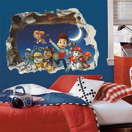 Wholesale 3D Paw Patrol Snow Slide Wall Stickers For Kids Room Decor Diy Adesivos de Paredes Home Decals Mural Arts Movie Poster